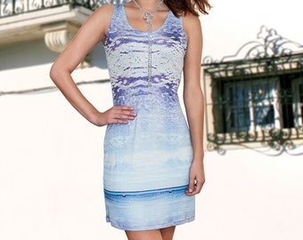 Blue 100% Silk Jersey Dress 2 for 1 Deal - Buy 1 Dress Get 1 Free Top - The Essential Sleeveless Silk Jersey Shift for All Occasions