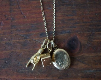 Reserved** DJ** Vintage Talisman Charm Locket Only in 14K Yellow Gold