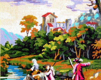 """PETITE POINTE CANVAS//""""Paysage""""by Royal Paris/A Petite Poinre Needlepoint reproduction of Cignaroli Art/A people crossing the river on Horse"""