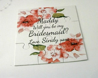 Be our Flower Girl card Will you be my Bridesmaid Invitation Bridesmaid puzzle card Maid of Honor Proposal Flower girl Puzzle