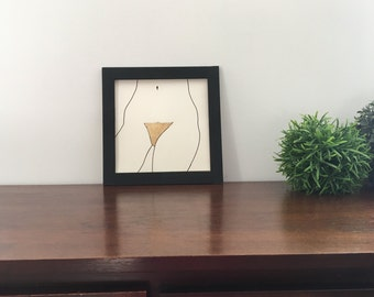 Naked woman standing II / Ink & Gold leaves