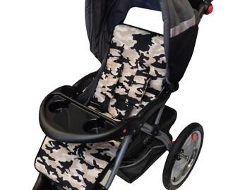 Gray Camo Stroller Liner-Reversible to Black Minky