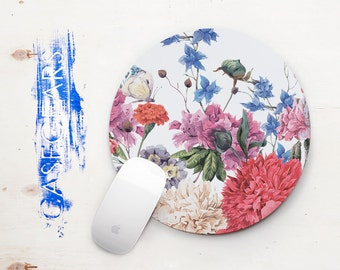 Home Office Desk Accessories Gift Cute Mouse Pad Floral MousePad Round Mouse Pad Computer Mouse Mat Flower Office Decor Handmade CG5009