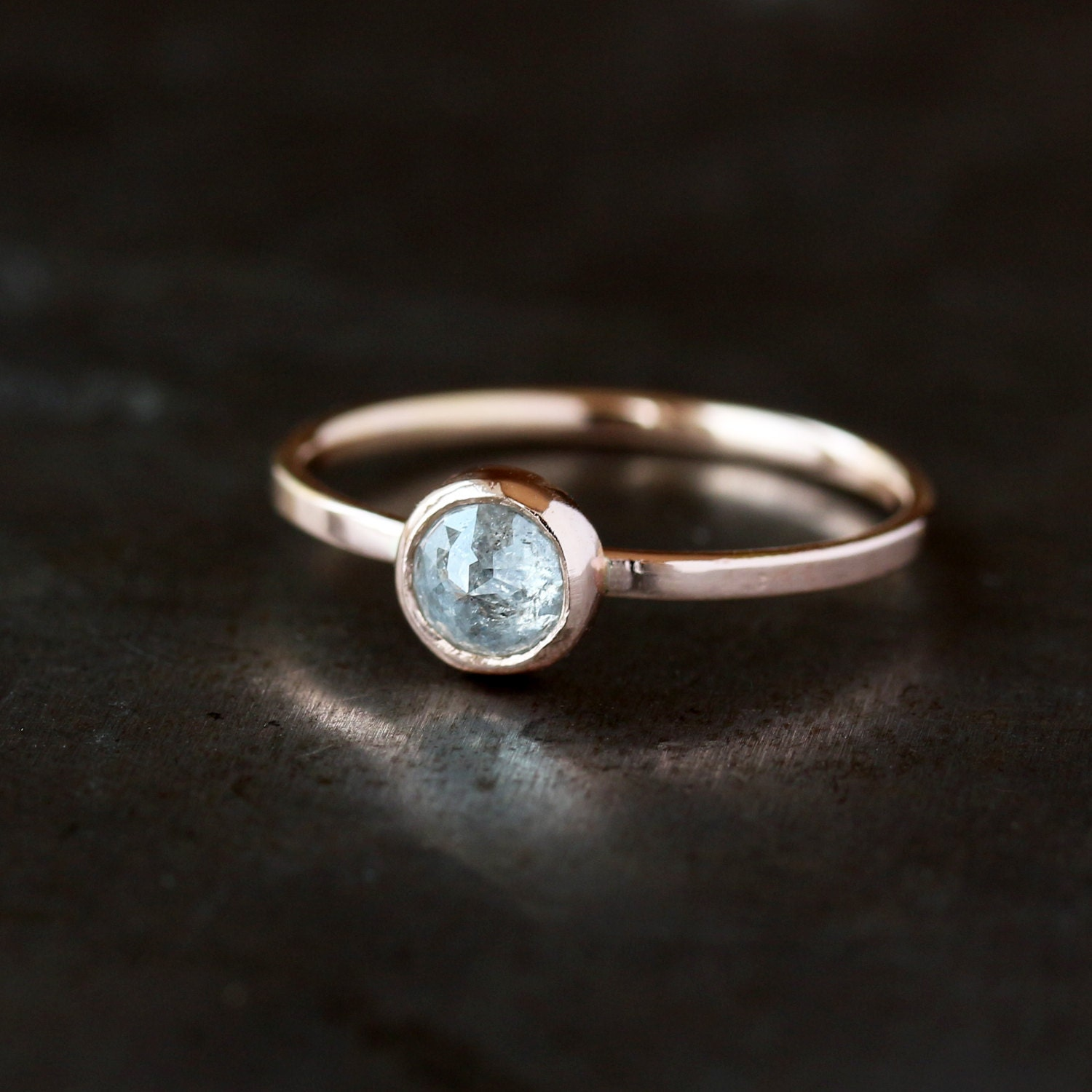 Icy Rose Cut Diamond Ring 14k Rose Gold Band Salt and Pepper