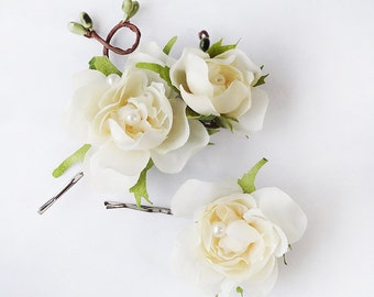 cream flower hair pins, bridal hair pins, hair pins wedding, flowers for hair, bridal hairpiece, hair flower clip, silk flower accessories