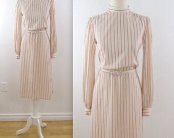 Blush Shimmer Stripe Dress - Vintage 1970s Shirt Dress in Small by Tobi