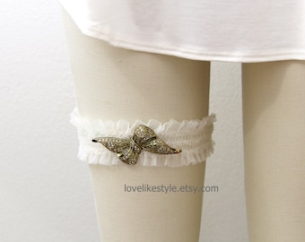 Antique Gold Bow Jewel Tulle Elastic Wedding Garter, Tulle Wedding Garter, Bridal Garter