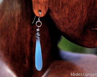 Blue Chalcedony Earrings, Rustic Chalcedony Long Slender Earrings, Sterling Wrapped Blue-Green Chalcedony Drop Earrings kbdesignsetc