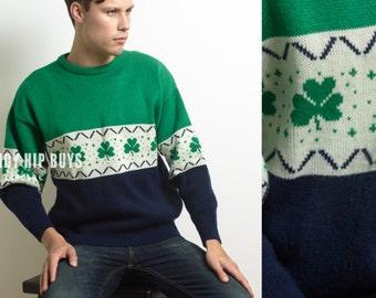 Vintage Sweater, Vintage Green Sweater, Vintage men's sweater, 80s sweater, color block sweater, Hipster Sweater, multicolor sweater - M/L