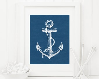 Anchor Printable Anchor Wall Art Nautical Decor Nautical Wall Art Navy Nursery Decor Boy Nursery Wall Art Beach Decor Blue Anchor Print