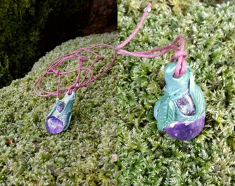 Elven Guardian ~ Amethyst and Labradorite Gemstone Pendant