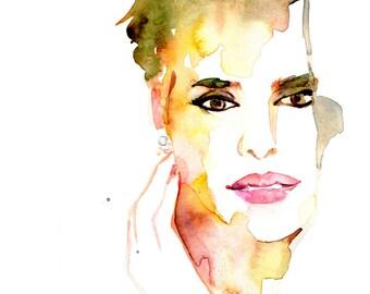 Woman watercolor art poster