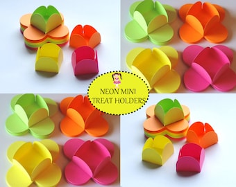 32 NEON TREAT HOLDERS, Neon Candy Holders, Neon Party, Neon Party Supplies, Neon Party Decor, Neon Forminhas, Forminhas,Caixas,Neon Paper.