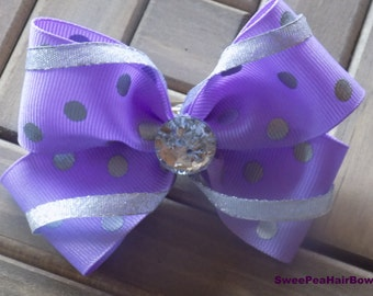 Purple and Silver Boutique Bow