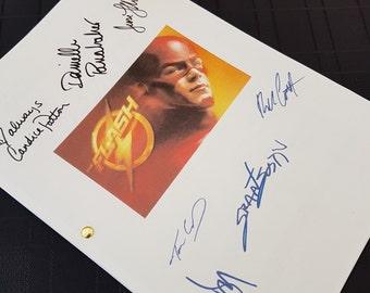 The Flash TV Script with Signatures / Autographs Reprint Superhero DC Grant Gustin Unique Gift Christmas Xmas Present Film Movie Fan Geek