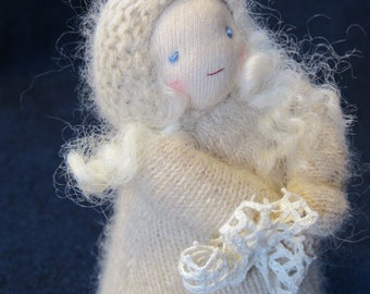 Snow Child Doll, Waldorf Nature Table Storytelling Puppet