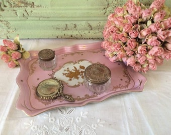 Exquisite Rose D'or Pink Porcelain Vanity Plate Tray Hand Painted Gold Trim 1930s
