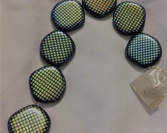 Jet Czech Lentil Spotted Beads (7 pieces)