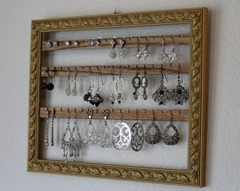 Wall Mount Jewelry Holder | Hanging Earring Organizer | Shabby Chic Earring Holder | Hanging Jewelry Organizer | Wall Hanging Earring Holder