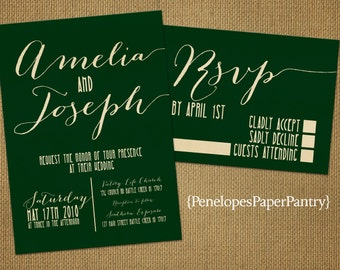 Emerald Green and Gold Wedding Invitation,Emerald Green,Gold,Shimmery,Elegant,Chic,Modern,Customize,Printed Invitations,Optional RSVP Card