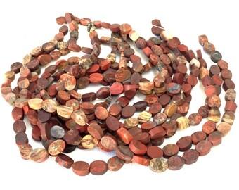 "Poppy Jasper matte raw Brecciated Jasper oval 14x10 gemstone beads 16"" strand"