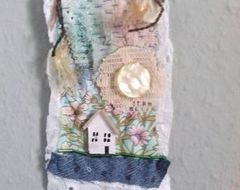 ooak fabric wall hanging. mixed media,home decor. house,home,cosy.