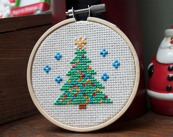 Christmas Tree Mini Cross Stitch Pattern PDF for Instant Download - Pictured in 3 Inch Hoop - Holiday Ornament