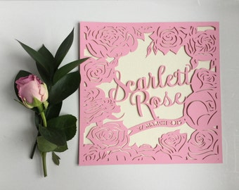 Roses and peonies -  photo frame or personalised papercut