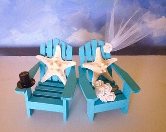 Beach Chair Cake Toppers- starfish cake toppers-Bride and Groom Cake Toppers-Wedding cake toppers- Turquois Chair Cake Toppers
