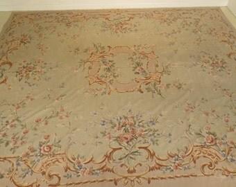 F28512EC Vintage Large Room Size Aubusson Rug