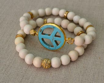 Natural Turquoise PEACE Sign Bracelet Set