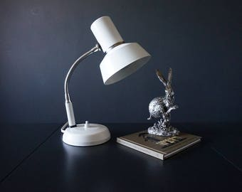 Retro /Vintage White Goose Neck Desk Lamp //1970s//Retro//Gifts for the Home.