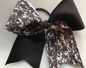 Digital Camo Hair Bows/Softball Bows/Cheer Bows/Soccer Hair Bows/Black, White and Gray Camoflauge Hair bows