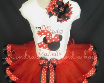 "Minnie mouse birthday tutu set, 2nd birthday tutu set Red""I'm Twodles""***Sale***"