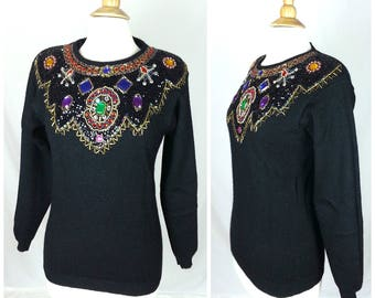 Vintage Black Beaded Sweater Medium / jeweled front long sleeves shoulder pads 70s sequined