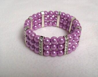 Lilac Pearl Stretch Bracelet