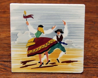 Vintage Hand Painted Aleluia Aveiro Art Tile | Portuguese Folk Art | Traditional Couple Folk Dancing | Made Aveiro Portugal | Hard to Find!