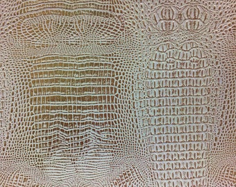 """White Gold Two Toned Metallic Gator Vinyl Fabric - Sold By The Yard 52"""" / 54"""""""