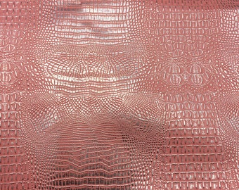 """Silver Pink Two Toned Metallic Gator Vinyl Fabric - Sold By The Yard 52"""" / 54"""""""