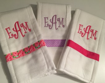 Adorable Monogrammed Burp Cloths w/Ribbon. Personalized! You choose your ribbon and thread colors!