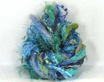 Caribbean Blue Elements 26yds Art Yarn Bundle Mixed Media Fibers Textile Craft Pack Art Ribbon Merino Wool Water Fibers, Aqua Turquoise Teal