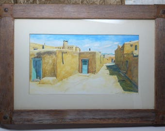 Taos Pueblo Watercolor - Framed Original Pueblo Watercolor Painting - Taos New Mexico - Southwest Painting