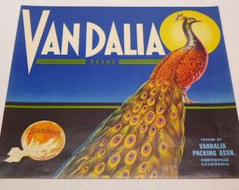 Vintage Fruit Packing Label - Produce Label - Sunkist - California Fruit Packing Label - Vandalia Brand Fruit Packing Label - Porterville