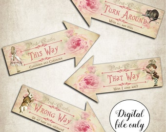 Digital Alice in Wonderland Arrow Signs - Party,Decoration,Printable,DIY,Wedding,