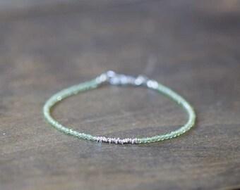 Ultra Delicate Peridot Bracelet Fine Silver or Rose Gold Vermeil, Stacking Gemstone Bracelet, Peridot Jewelry, Green Gemstone Bracelet