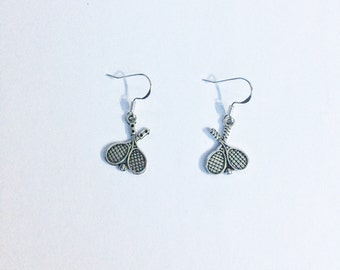 Tennis racquet earrings ~ Tennis earrings ~ tennis player ~ tennis jewellery ~ tennis Jewelry ~ silver earrings