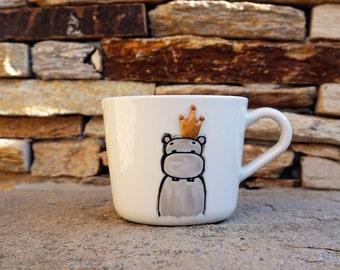 Hippo Mug, Hippo Tea Cup, Handpainted Mug, Hippopotamus Mug, Hippo Lovers Mug, Personalized Mug,