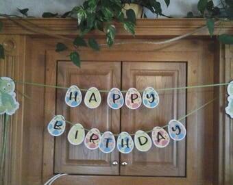 Baby Dinosaur == BIRTHDAY PARTY ===-  Happy Birthday Banner ---5 to  7 feet wide