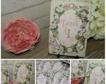 1-10 Vintage Alice in Wonderland Table Numbers Wedding,Tea Party