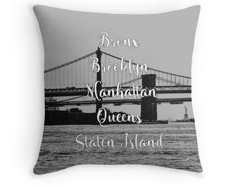 New York City, NYC Pillow, Brooklyn Pillow, Manhattan Pillow, New York City Cushion, NYC Art, New York City Bedding, NYC Decor, New York Art